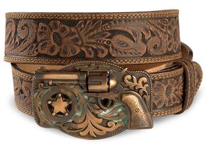 Justin Trigger Happy Buckle Leather Belt - Reg & Big, Brown, hi-res