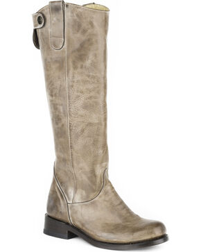 Stetson Women's Brielle Burnished Riding Boots - Round Toe, Tan, hi-res