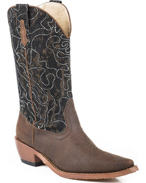 Roper Women's Crystal Lace Shaft Boots - Snip Toe, Brown, hi-res