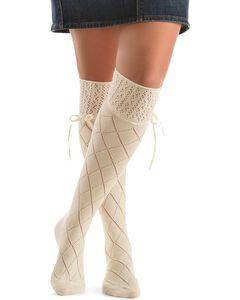 Blazin Roxx Cream Crochet with Ribbon Knee-High Socks, , hi-res