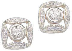 Montana Silversmiths Bezel Rhinestone Earrings, , hi-res