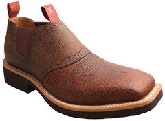 Twisted X Men's Cow Dog Brown Leather Shoes - Square Toe, Peanut, hi-res