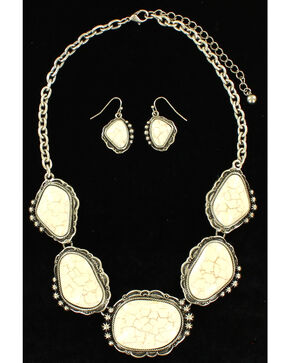 Blazin Roxx Women's Cluster White Stone Jewelry Set , Silver, hi-res