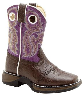 Durango Youth Girls' Purple Saddle Vamp Lil' Flirt Cowgirl Boots - Square Toe, Dark Brown, hi-res