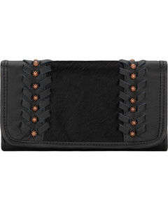American West Women's Cow Town Black Tri-Fold Wallet , , hi-res