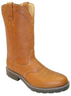 Twisted X Saddle Vamp Pull-On Work Boots - Steel Toe, Peanut, hi-res