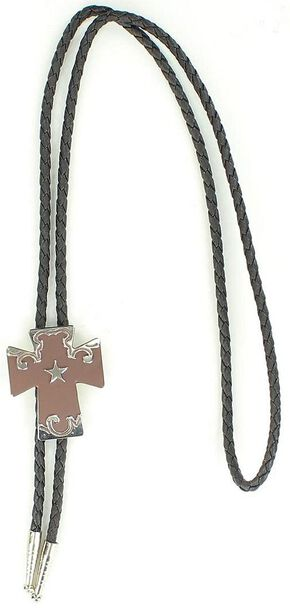 Cross with Star Bolo Tie, Black, hi-res