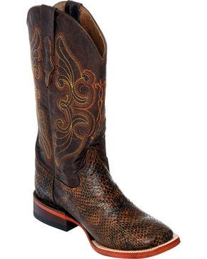 Ferrini Women's Chocolate Snake Print Cowgirl Boots - Square Toe, Chocolate, hi-res