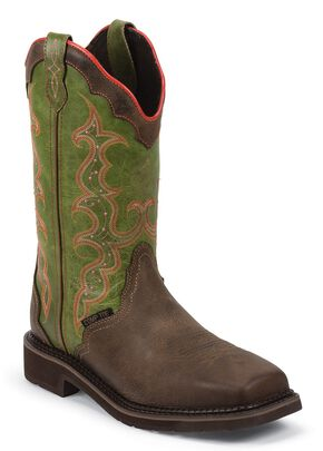 Justin Women's Stampede Pull-On Work Boots - Composition Toe, Brown, hi-res