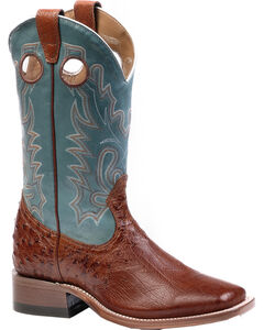 Boulet Smooth Brandy Ostrich Cowgirl Boots - Square Toe, , hi-res