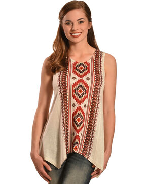 New Direction Sports Women's Sleeveless Aztec Tunic Top , Natural, hi-res