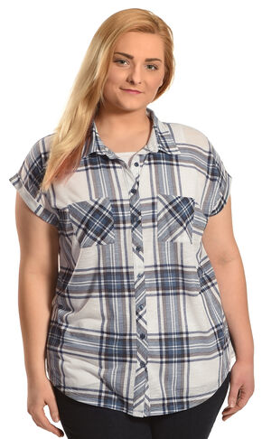 Derek Heart Women's Blue 2 Pocket Plaid Shirt with Extended Shoulder - Plus Size, Blue, hi-res