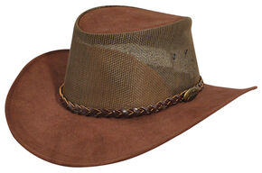 Jacaru Summer Breeze Outback Hat, Brown, hi-res