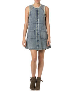 Miss Me Frayed Denim Sleeveless Dress , , hi-res
