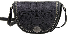 Montana West Trinity Ranch Black Tooled Design Messenger Bag, , hi-res