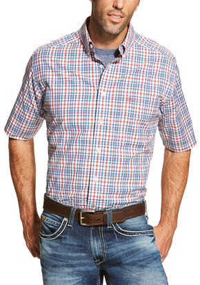 Ariat Men's Coral Maud Short Sleeve Shirt - Big and Tall , Coral, hi-res