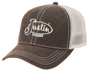 Justin Logo Embroided Mesh Back Cap, Brown, hi-res
