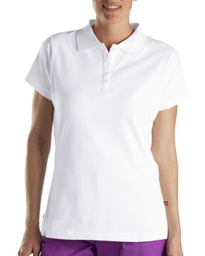 Dickies Women's Pique Polo Shirt, White, hi-res