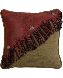 HiEnd Accents San Angelo Red Leather Fringe Pillow, , hi-res