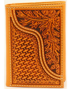 Nocona Men's Leaves and Acorns Basket Weave Rodeo Wallet, Tan, hi-res