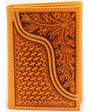 Nocona Men's Leaves and Acorns Basket Weave Rodeo Wallet, Tan, hi-res