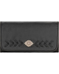 American West Mohave Canyon Ladies' Black Tri-Fold Wallet, , hi-res
