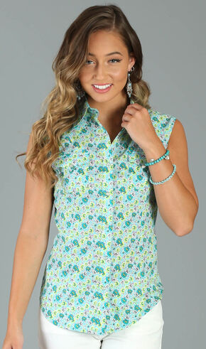 Wrangler Women's Floral Print Sleeveless Top, Turquoise, hi-res