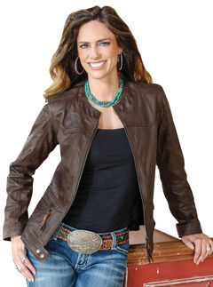 STS Ranchwear Women's Douglas Brown Leather Jacket, , hi-res