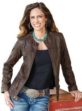 STS Ranchwear Women's Douglas Brown Leather Jacket, Brown, hi-res