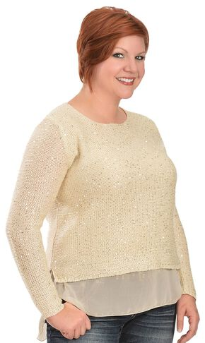 Lawman Chiffon Trim Sparkle Top - Plus, Ivory, hi-res