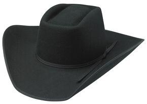 Tony Lama Brick Top Black 3X Wool Felt Cowboy Hat, Black, hi-res