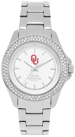 Jack Mason Women's University of Oklahoma Glitz Sport Bracelet Watch, Silver, hi-res