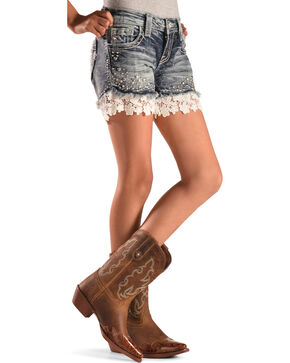 MIss Me Girls' Flower Lace Denim Shorts , Indigo, hi-res