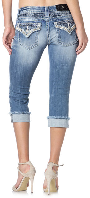 Miss Me Women's Lattice Stitch Denim Capris , Denim, hi-res