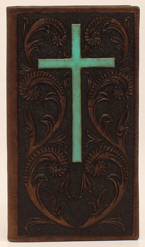 Ariat Turquoise Cross Rodeo Wallet, Brown, hi-res