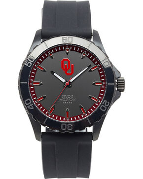 Jack Mason University of Oklahoma Men's Blackout Silicone Strap Watch , Black, hi-res
