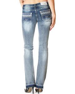 Grace In LA Women's Destructed Under Water Lace Jeans - Boot Cut , , hi-res