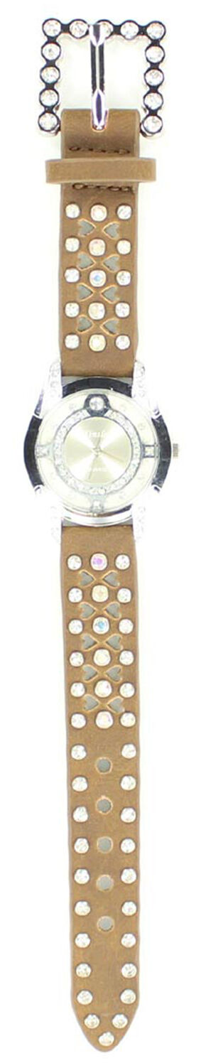 Heart Cutouts & Rhinestones Watch, Brown, hi-res