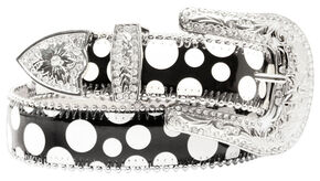 Blazin Roxx Black and White Polka Dot Belt, Black, hi-res