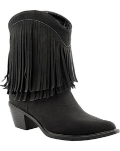 Roper Faux Leather Fringe Cowgirl Boots - Pointed Toe, , hi-res