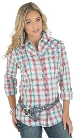 Wrangler Rock 47 Women's Long Sleeve Tab Plaid Shirt, White, hi-res