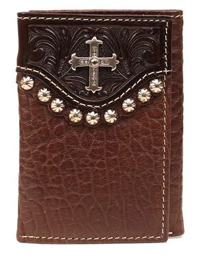 Embossed Leather Overlay & Cross Concho Tri-Fold Wallet, Brown, hi-res