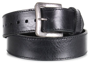 American Worker Men's Black Leather Stitch Belt, Black, hi-res