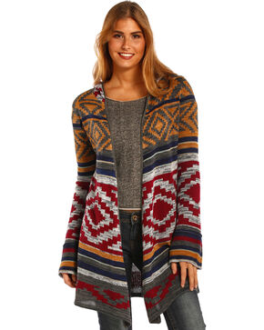 Panhandle Slim Women's Aztec Hooded Sweater, Wine, hi-res