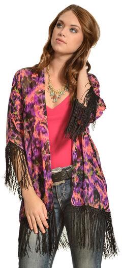 Wrangler Rock 47 Women's Multicolor Ikat Fringe Kimono Cardigan, , hi-res