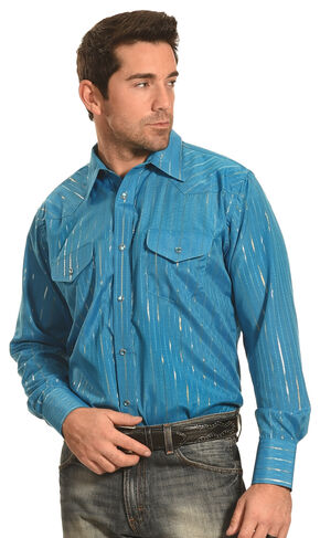 Crazy Cowboy Men's Teal Lurex Western Snap Shirt, Teal, hi-res