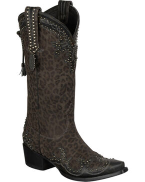 Lane for Double D Ranch Cheetah Chic Cowgirl Boots - Snip Toe, Cheetah, hi-res