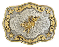 Nocona Rope Edge Bull Rider Silver/Gold Buckle, , hi-res