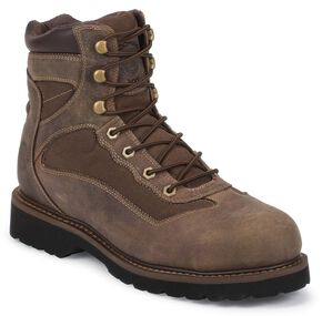 Justin Light Duty Lace-Up Hiker Boots - Composite Toe, Brown, hi-res