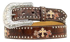 Nocona Triple Cross Embroidery Studded Leather Belt, , hi-res